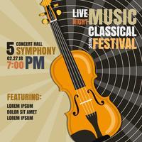 Ilustração do vetor do cartaz do festival de música clássica