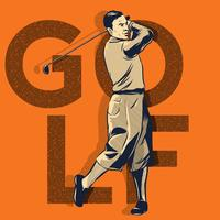 Golfspelare I Action Illustration