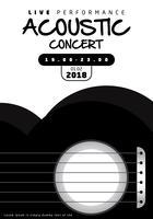 Svartvit akustisk konsertaffisch