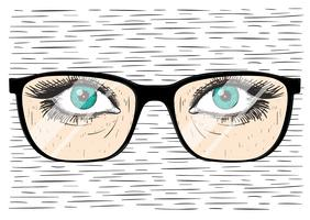Vector Hand Drawn Glasses With Eye