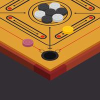 Carrom Board Isometric Vector Illustration