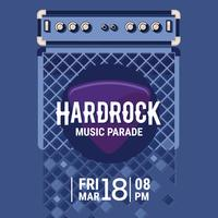 Vector Hard Rock Music Poster con amplificador de guitarra eléctrica y guitarra recogida plana ilustración