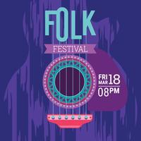 Poster del Festival Folk. Illustrazione tipografica minimalista di vettore