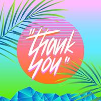 Thank You Typography Vaporwave Summer Vector