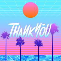 Thank You Typography Beach Vaporwave Vector