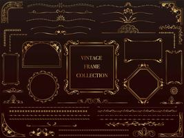 A set of assorted gold vintage frames. vector
