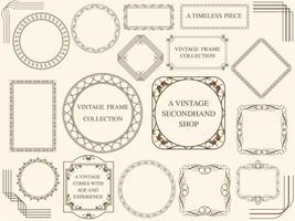 A set of assorted vintage frames. vector