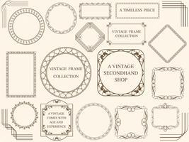 A set of assorted vintage frames.