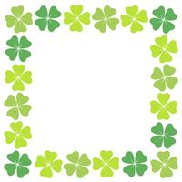 Four-leaf clover square frame. vector