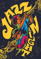Poster psicadélico do concerto do jazz