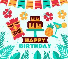 Vector de fiesta tropical de cumpleaños