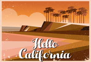Hello California Postcard