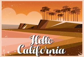 Hello California Postcard