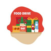 Flat food drive illustration