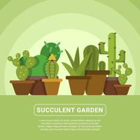 Flat Succulent Vector Illustration