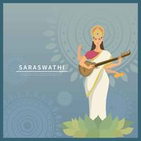 Goddess Saraswati With Blue Background Illustration