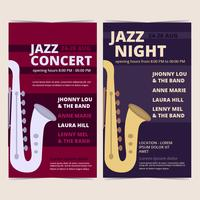 Pôsteres de concertos de jazz vetorial
