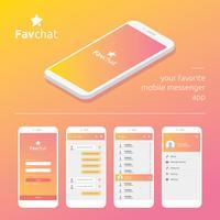 Aplicación móvil Messenger Gui Vector