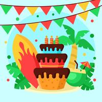 Polynesian Birthday Party Vector