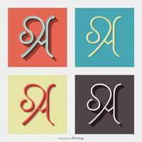 Letter A Typography Retro Vector Designs