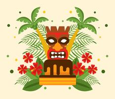 Polynesian Birthday With Tiki Vector