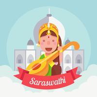 Saraswathi Vector Illustration