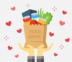 Hand mit Food Drive Bag Vektor