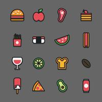 Outlined Colorful Food Icons