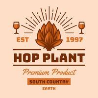 vector de logo vintage de planta de lúpulo