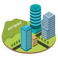 Flat Isometric Los Angeles Vector Illustration