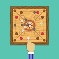 Carrom Playing Illustration Vector