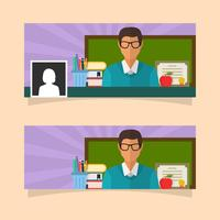 Flat Teacher Facebook Cover Vector Template