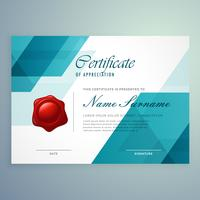 Plantilla de diseño de certificado azul abstracto moderno