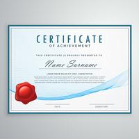blue certificate design in elegant wave shape