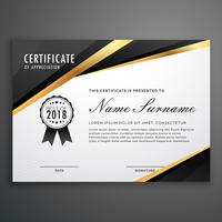 diseño de la plantilla de certificado negro dorado