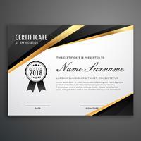 premium guld svart certifikat mall design