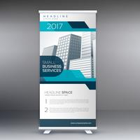 roll up banner flyer standee design in blue color