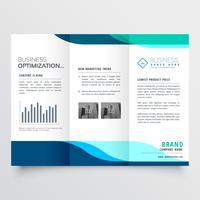 modern tredubbla broschyrdesign med blåa former