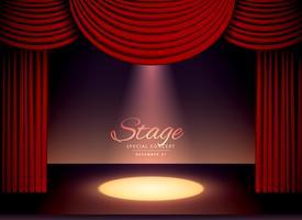 Scence de théâtre avec rideaux rouges et lumière tombante