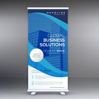 blauwe roll-up staande banner sjabloon vector design