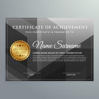 modelo de design de certificado de prêmio preto