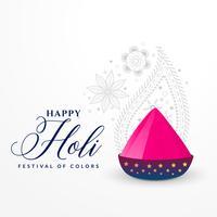 Feliz Holi elegante diseño de tarjeta con colores de polvo rosa.