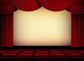 theater of bioscoop auditorium scherm met rode gordijnen en stoelen