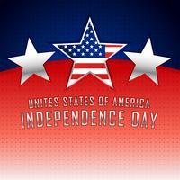 Amerikanischer Unabhängigkeitstaghintergrund mit drei silbernen Sternen