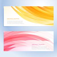 abstratos banners ondulados definidos na cor amarela e rosa
