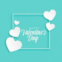 blå bakgrund med vita hjärtan för valentins dag