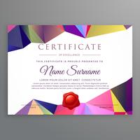 modern low poly funky certificate design template