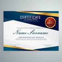 moderne blaue und goldene Zertifikatvorlage