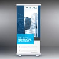 simple blue standee roll up banner design with business informat