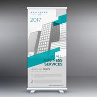 roll up banner standee design template in gray and blue color